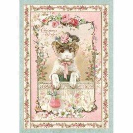 Stamperia und Florella weihnachtsdeko basteln, Stamperia Rice Paper A4 , Vintage Christmas Kitten