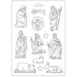 Stamperia weihnachtsdeko basteln, flexible Gießformen, 8 Krippefiguren