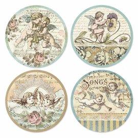 Stamperia und Florella Kerstambachten, kleverig rijstpapier, engelenmotieven, 21x21cm