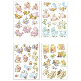 Embellishments / Verzierungen great 4 punched sheets, A4, with 16 baby motifs with glitter!