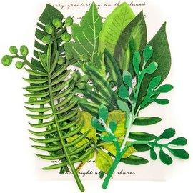 Prima Marketing und Petaloo Enfeites de scrapbooking, folhas sempre-verdes