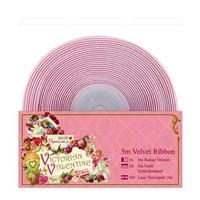 Deco ribbon, 5 meters velvet ribbon, delicate pink