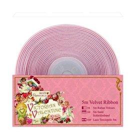 DEKOBAND / RIBBONS / RUBANS ... Deco-bånd, 5 meter fløjlbånd, delikat lyserødt