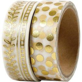 DEKOBAND / RIBBONS / RUBANS ... Washi Tape, Guld Folie Punkter og Rake, 2x4m