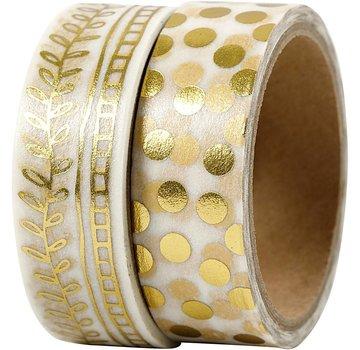 DEKOBAND / RIBBONS / RUBANS ... Washi Tape, punti di lamina d'oro e rastrello, 2x4m