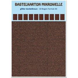 REDDY 10 fogli! Microonde in cartone artigianale, 230g./qm, formato A4, glitter marrone scuro