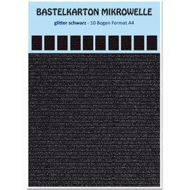 REDDY 10 fogli! Microonde in cartone artigianale, 230g./qm, formato A4, nero glitterato