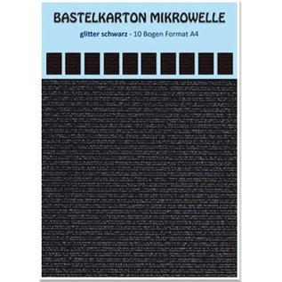 REDDY 10 Blatt! Bastelkarton Mikrowelle, 230g./qm, Format A4, glitter schwarz