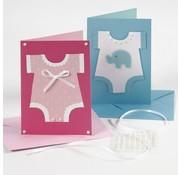 KARTEN und Zubehör / Cards Note cards, size 10,5x15 cm, pink / pink, 10 pieces