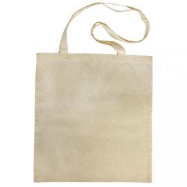 Textil Bolsa de algodón con asas largas, beige.