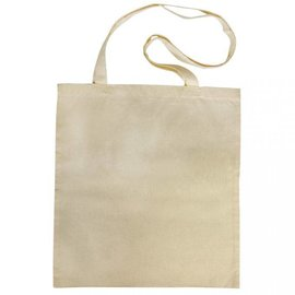 Textil Cotton bag with long handles, beige
