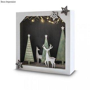 Holz, MDF, Pappe, Objekten zum Dekorieren DIY decoration, 3D paper frame with wooden top, 21,7x21,7x5,5cm
