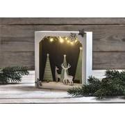 Holz, MDF, Pappe, Objekten zum Dekorieren Weihnachtsdekoration basteln, 3D paper mache frame with wooden top, 21,7x21,7x5,5cm