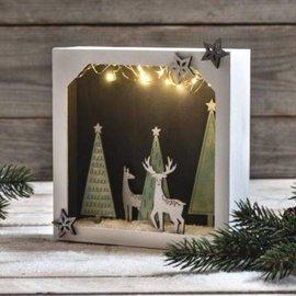 Holz, MDF, Pappe, Objekten zum Dekorieren DIY dekoration, 3D papirramme med træplade, 21,7x21,7x5,5 cm