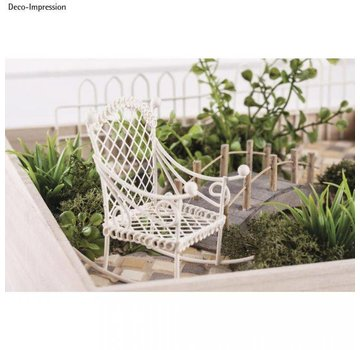 Embellishments / Verzierungen Deco mini rocking chair, 2,5x4,5x4,5cm, white