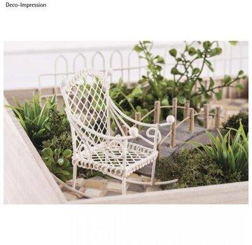 Embellishments / Verzierungen Deco mini sedia a dondolo, 2,5x4,5x4,5cm, bianco