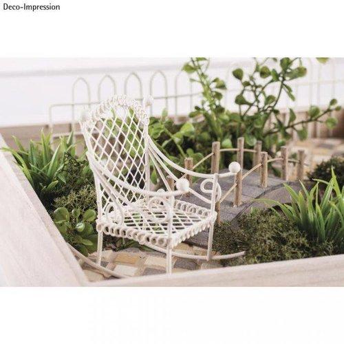 Embellishments / Verzierungen Deco mini gyngestol, 2,5x4,5x4,5cm, hvid