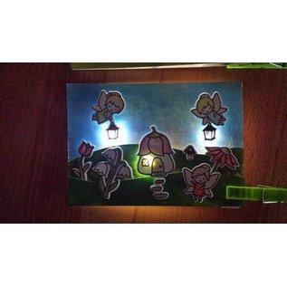 Elisabeth Craft Dies , By Lene, Lawn Fawn Kaarten ontwerpen met verlichting: stempelmotieven + stansmallen + miniverlichting, engelen