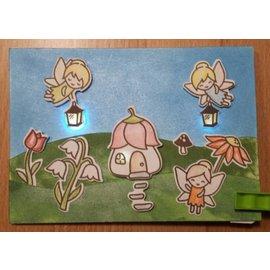 Elisabeth Craft Dies , By Lene, Lawn Fawn Diseño de tarjetas con iluminación: motivos de estampillas + plantillas de perforación + mini iluminación, ángeles