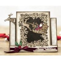 Die cutting template: Create a card, sleigh with reindeer, Santa Claus and decorative frame