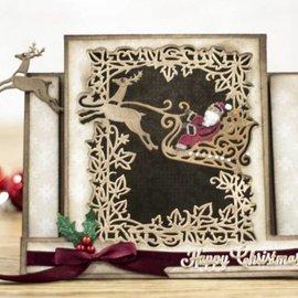 Crafter's Companion Stansning skabelon: Opret et kort, slæde med rensdyr, julemand og dekorativ ramme