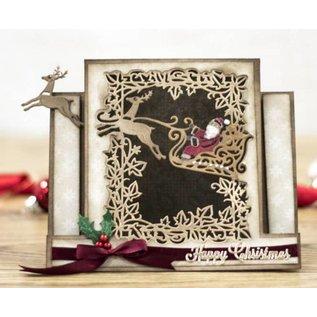 Crafter's Companion Ponsen sjabloon: Maak een kaart, slee met rendieren, Santa Claus en sierlijst