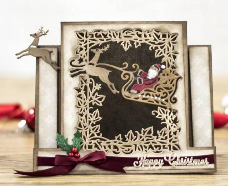Blanc cartes de Noël 5 x le traîneau du Père Noël avec Rennes DIE CUTS-Artisanat
