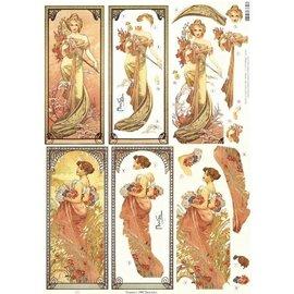 Bilder, 3D Bilder und ausgestanzte Teile usw... Art Nouveau, 2 stamped sheets - Limited!