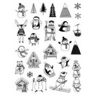 ALADINE 26 Foam Stamps + Inkpad, Christmas Themes