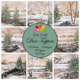 Bilder, 3D Bilder und ausgestanzte Teile usw... Toppers, billeder 9x9 cm træer om vinteren