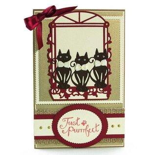 Tonic Studio´s Ponssjablonen: Decoratief venster met honden en ornamenten