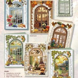 BASTELSETS / CRAFT KITS Complete card set for 6 cards: window cards, for tinkering with paper