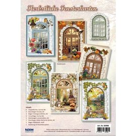 BASTELSETS / CRAFT KITS Jeu de cartes complet pour 6 cartes: cartes à fenêtre, pour bricoler avec du papier