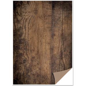REDDY Doos met 1 vel kaarten met houtlook, houten plank, donkerbruin