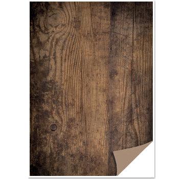 REDDY 1 sheet card box with wood look, wooden board, dark brown