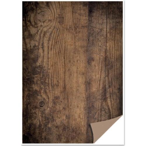 REDDY Boîte à cartes 1 feuille aspect bois, planche de bois, brun foncé