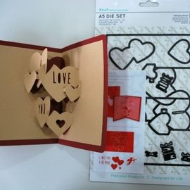 Docrafts / X-Cut X-corte, plantilla de perforación, A5 conjunto (11pcs) - Pop Up Tarjeta de Amor