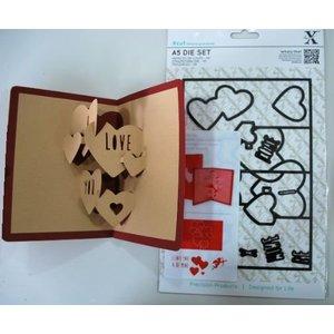 Docrafts / X-Cut X-coupe, modèle de punch, A5 Set (11pcs) - Pop Up Love Card