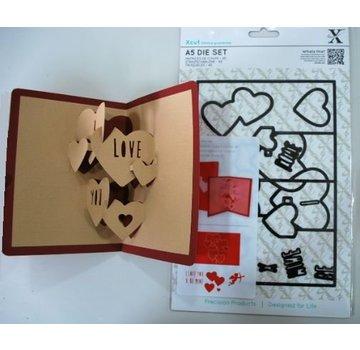 Docrafts / X-Cut X-cut, hulning skabelon, A5 Set (11pcs) - Pop Up Card Kærlighed