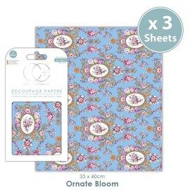 DECOUPAGE AND ACCESSOIRES Decoupage designer paper, 3 sheets, 35 x 40cm