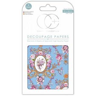 DECOUPAGE AND ACCESSOIRES Carta di design decoupage, 3 fogli, 35 x 40 cm