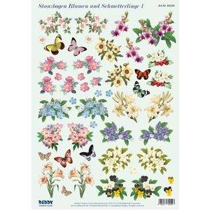 Bilder, 3D Bilder und ausgestanzte Teile usw... 3D-Stanzbogen Blumen und Schmetterlinge