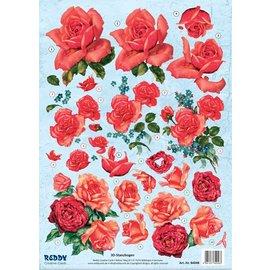 Bilder, 3D Bilder und ausgestanzte Teile usw... 3D dø skåret ark, røde roser