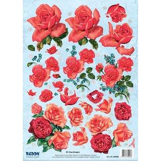 Bilder, 3D Bilder und ausgestanzte Teile usw... Feuille prédécoupée 3D, roses rouges