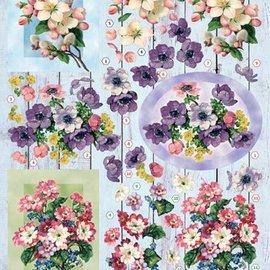 Bilder, 3D Bilder und ausgestanzte Teile usw... Hoja perforada 3D, ramos de flores