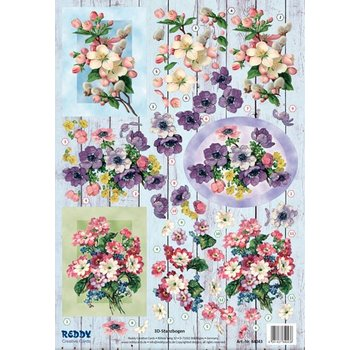 Bilder, 3D Bilder und ausgestanzte Teile usw... Foglio punzonato 3D, mazzi di fiori