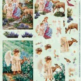 Bilder, 3D Bilder und ausgestanzte Teile usw... Hoja de punzonado 3D, angel con ciervo.
