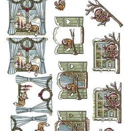 Bilder, 3D Bilder und ausgestanzte Teile usw... Punzonadora, ventanas decoradas para navidad.