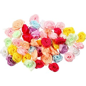 Embellishments / Verzierungen Boutons de rose, décoration en tissu, D: 14-18 mm, 25 assortis