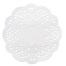 Embellishments / Verzierungen 24 kanten kleedjes rond de 10 cm, wit